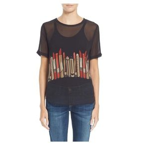 Equipment 'Riley' sheer silk graphic tee